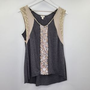 Anthropologie Tiny Sequins Lace Tank Top Gray Boho